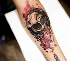 Musick skull tattoo by Felipe Rodrigues