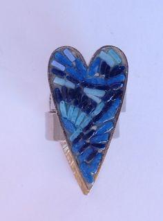 heart ring blue di MOSAICANDARTS su Etsy