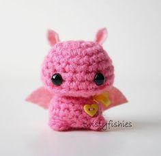 Baby Pink Bat Kawaii Mini Amigurumi Plush by twistyfishies