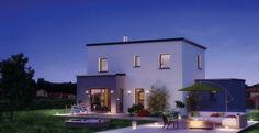 Lumena - maison contemporaine à toit plat - Modèle à étage partiel façade arrière - Construction maison - Constructeur maison