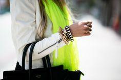 neon, black, white