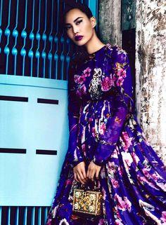 Prestige Runway September 2014  purple dg dress