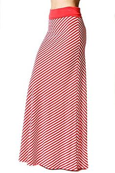 Womens Coral White Striped Foldable High Waist Maxi Knit ... http://www.amazon.com/dp/B01FIDWHJU/ref=cm_sw_r_pi_dp_enZvxb0EJ06A9