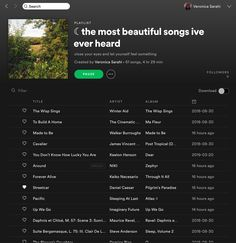 ☾ the most beautiful songs ive ever heard, a playlist by Veronica Sarahi on Spotify Music Mood, Mood Songs, Indie Music, Music Lyrics, Music Songs, Playlist Names Ideas, Song Playlist, Disney Playlist, Road Trip Playlist