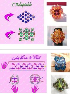 """[gallery link=""""file"""" orderby=""""post_name""""] Diy Beaded Rings, Diy Jewelry Rings, Diy Rings, Bead Jewellery, Seed Bead Jewelry, Simple Jewelry, Jewelry Crafts, Beaded Jewelry Patterns, Embroidery Jewelry"""