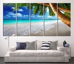 Large Canvas Print - Sea and Beach, Palm on the Beach Canvas Print, Large Wall Art Print, Tropical Island Art Canvas, Ocean Beach Canvas