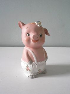 Vintage chalkware Piggy Bank pig ceramic kitsch retro 50s