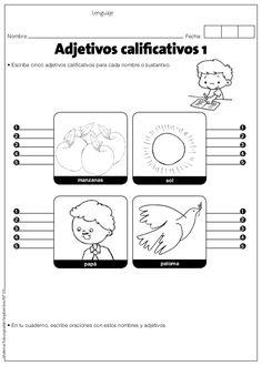 Adjetivos by Doris Goye Schuler via slideshare Spanish Worksheets, First Grade Worksheets, Spanish Activities, Spanish Classroom, Teaching Spanish, Teaching Strategies, Teaching Resources, Adjective Worksheet, Learning Sight Words