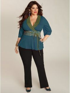 Ishiko Plus Size Top in Teal - Work Wear Collection by IGIGI