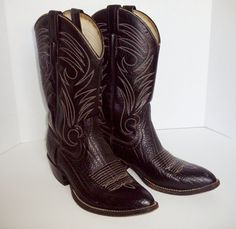Vintage Men's Cowboy Boots Size 10 Black Leather Vaquera Made in Mexico