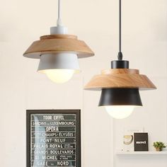 LukLoy Modern Pendant Lamp, Natural Simple Wooden Pendant Light Lighting Fixture for Cafe Bar Living Room luminaire