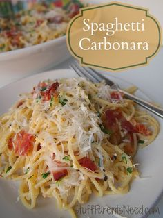 Spaghetti carbonara: my all-time favorite pasta recipe. It is sooooo good!