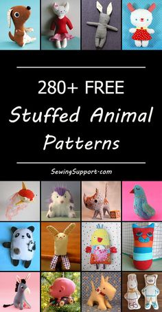 Over 280 Free Stuffed Animal patterns, tutorials, and diy projects to sew. Many cute and easy designs. Lots of free stuffed animal patterns. Cute plushie patterns & softie toys to sew. Simple & easy or advanced. Diy Sewing Projects, Sewing Projects For Beginners, Sewing Hacks, Sewing Tutorials, Sewing Crafts, Sewing Tips, Sewing Ideas, Sewing Designs, Clay Tutorials