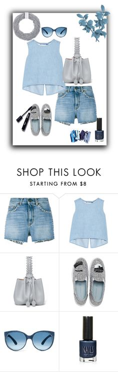 """Studded denim shorts"" by blondeandcrazy ❤ liked on Polyvore featuring Yves Saint Laurent, Steve J & Yoni P, Alaïa, Chiara Ferragni, Topshop, Bex Rox, jeanshorts, denimshorts and cutoffs"