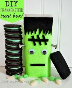 halloween crafts with crystal light containers | Crystal Light containers into Frankenstein Treat boxes #DIY #craft ...
