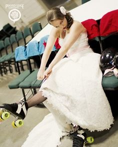 Bad-Ass Roller Derby Bridal Shoot Awesome she incorporated her passion for Roller Derby with her Wedding
