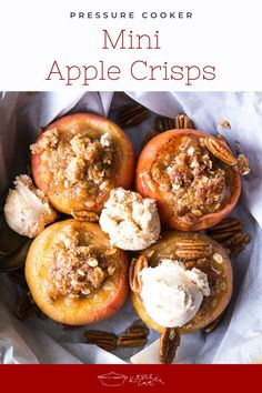 Pressure Cooker Mini Apple Crisps are baked right in the apple and ready for individual serving. They're the cutest fall party dessert! Pressure Cooker Curry, Pressure Cooker Desserts, Pressure Cooker Chicken, Instant Pot Pressure Cooker, Easy Appetizer Recipes, Healthy Dessert Recipes, How To Make Cheesecake, Mini Apple, Apple Crisp