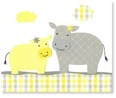 Printable Nursery Art Hippo Gray and Yellow by SweetPeaNurseryArt, $6.00