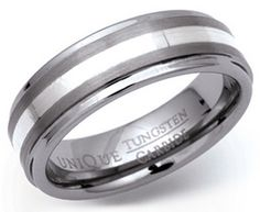 7mm Tungsten Carbide and Silver Ring