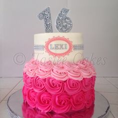 Bling cake, 16th birthday, pink cake, rosettes, teenage cake, bling candles, rhinestone cake