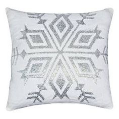 Silver Snowflake Throw Pillow - White - Threshold™ : Target