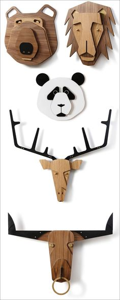Tzachi Nevo has launched 'Hunter Wall', a collection of wood taxidermy animal heads inspired by African masks that can be hung alone or as a group to create whimsical wall decor. Fine Woodworking, Popular Woodworking, Woodworking Projects Diy, Woodworking Patterns, Furniture Makeover, Diy Furniture, Small Cabins, Wood Carving Tools, Animal Heads