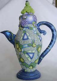 unique blue tea pot