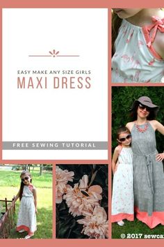 Easy Make Any Size Girls Maxi Dress FREE sewing tutorial. The Maxi Dress is a dress very much with summer in mind. You can make the Maxi Dress in ANY size, so why not make a new Maxi Dress that'll look gorgeous and feel fantastic? This dress is the perfect dress for hot summer days and is easy to make. And by using soft cotton spandex knit fabric, as recommended by the designer, the dress has terrific drape and stretch too. The simple-to-make gathering at the neckline, elasticized waist, and tie Sewing Patterns For Kids, Dress Sewing Patterns, Sewing For Kids, Free Sewing, Girls Maxi Dresses, Looking Gorgeous, Sewing Tutorials, Feel Fantastic, Clothes For Women