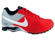 Nike Shox Shoe | ... MENS NIKE SHOX DELIVER LEATHER RUNNING SHOES PIMENTO / PLATINUM / GREY