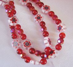 Red Italian Onyx & Red Beaded Glass Eyeglass Chain by nonie615, $12.00