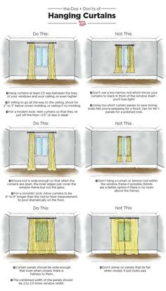 The Dos & Don'ts of Hanging Curtains: An Illustrated Guide Nothing makes a room feel well-dressed quite like carefully chosen, expertly hung curtains. When done right, your ceilings can look taller and your room will appear complete. Family Room Curtains, Bedroom Curtains, Apartment Curtains, Velvet Curtains, Curtain Ideas For Living Room, Livingroom Curtain Ideas, Rustic Curtains, Diy Bedroom, Farmhouse Curtains