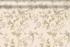 Summer Palace Taupe/Ivory Floral Wallpaper An elegant archive print depicting beautiful birds and flowers on washable wallpaper, suitable for all interiors including well ventilated kitchens and bathrooms. per Roll Blue Floral Wallpaper, Bird Wallpaper, White Wallpaper, Fabric Wallpaper, Pattern Wallpaper, Wallpaper Ideas, Vintage Wallpaper Patterns, Wallpaper Designs, Wallpaper Roll