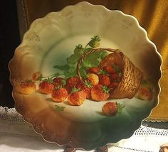 c1890 Rare ZS&C Porcelain Hand Painted Scalloped Strawberry Plate w/ Gold Trim