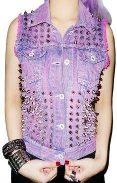 Purple studded/spiked denim vest