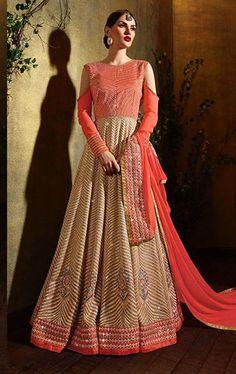 Harmonious Pink and Beige Designer Anarkali Salwar Suit