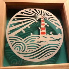 Hand cut Paper Cutting. LIGHTHOUSE BEACH by HullabalooPapercuts, £15.00