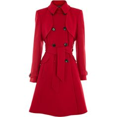 Warehouse Fit And Flare Coat (300 RON) ❤ liked on Polyvore featuring outerwear, coats, jackets, coats & jackets, red, knee length wool coat, waist belt, wool coat, red double breasted coat and double breasted woolen coat