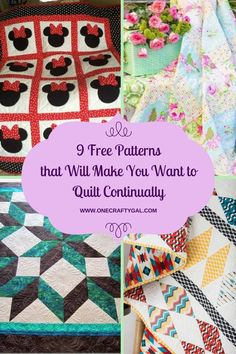 These 9 free quilting patterns will blow your mind. You are going to want to make them all   www.onecraftygal.com #quilt #quilting #craft #sewing #patterns #free #freepatterns