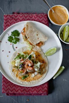 Fava Beans And Shrimp Taco With Mustard Sriracha Aioli