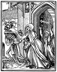Hans Holbein the Younger, The Dance of Death: The Abbess, woodcut Renaissance Art, Hans Holbein, Macabre, Skeleton Art, Danse Macabre, Dance Of Death, Medieval Drawings, Art, Woodcut
