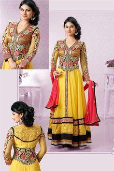 Alluring Mouni Roy Georgette Yellow, Orange Designer Anarkali Salwar Suit