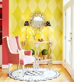 interesting wall pattern...not sure about color.  maybe grays or tans?