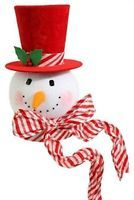 """RAZ Imports 15"""" Peppermint Snowman Head Solid Red Top Hat Tree Topper NEW!"""