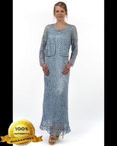 Soulmates C12016 Crochet Beaded Silk Lace Tank Ankle Length 2 pc Jacket Dress (Missy, Plus Sizes)
