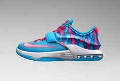 """outlet store 522d3 9b70e Nike KD 7 GS """"Frozens""""  Cute with the pink tank, baby blue basketball  shorts, and white fitted cap."""
