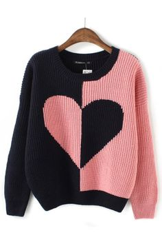 ++ Color Block Heart  K.n.i.t Pullover