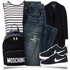 School Style by madeinmalaysia on Polyvore featuring polyvore, fashion, style, MSGM, Canvas by Lands' End, NIKE, Moschino and clothing