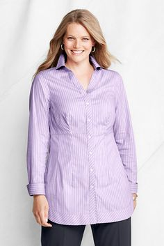 Women's Plus Size Cotton Nylon Stretch Seamed Tunic from Lands' End