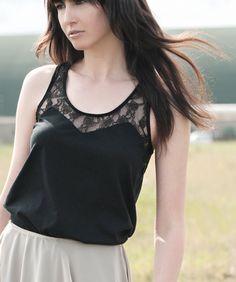 Black Lace Tunic - bohemian festival style, geometric chevron pattern shirt - small murmuration. $95.00, via Etsy.