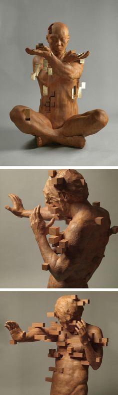 Hsu Tung Han's wooden sculptures look like pixelated images.